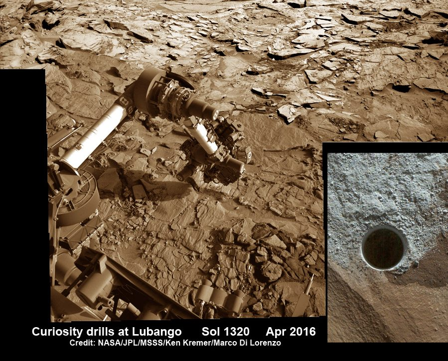 Image taken of drill sample obtained at the 'Lubango' outcrop target on Sol 1320, Apr. 23, 2016. Lubango is located in the Stimson unit on the lower slopes of Mount Sharp inside Gale Crater. - Image Credit: NASA/JPL/MSSS/Ken Kremer/kenkremer.com/Marco Di Lorenzo