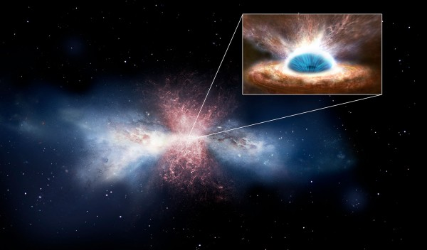 Artist's impression of a black hole's wind sweeping away galactic gas. - Image Credit: ESA
