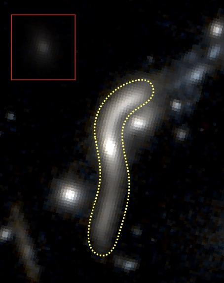 The quiescent galaxy eMACSJ1341-QG-1 as seen by the Hubble Space Telescope. The yellow dotted line traces the boundaries of the galaxy's gravitationally lensed image. The inset on the upper left shows what eMACSJ1341-QG-1 would look like if we observed it directly, without the cluster lens. - Image Credit: Harald Ebeling/UH IfA