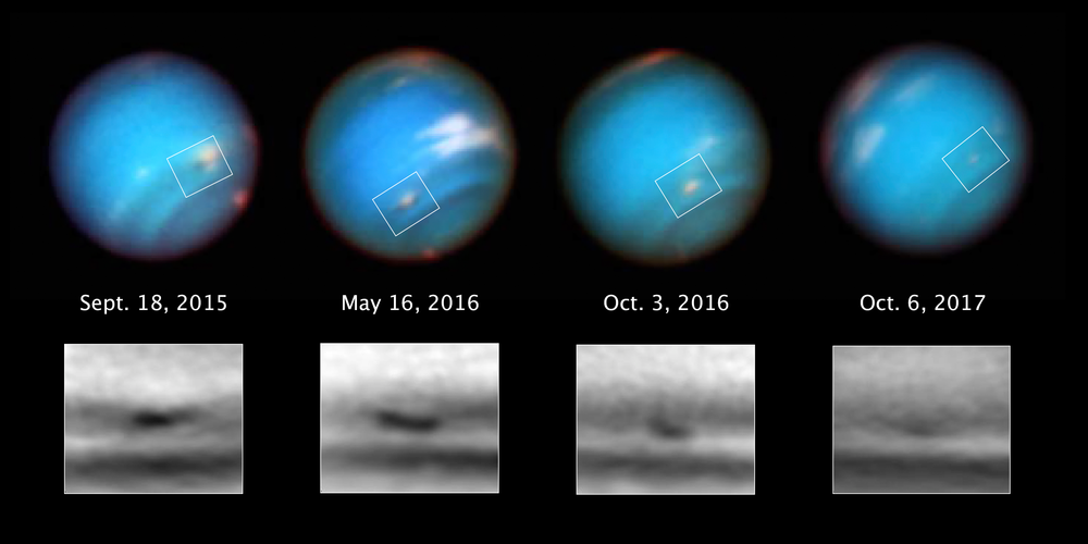 This series of Hubble Space Telescope images taken over 2 years tracks the demise of a giant dark vortex on the planet Neptune. The oval-shaped spot has shrunk from 3,100 miles across its long axis to 2,300 miles across, over the Hubble observation period. - Image Credits: NASA, ESA, and M.H. Wong and A.I. Hsu (UC Berkeley)