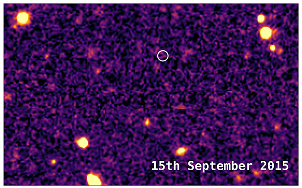 This image from 2015 shows the same area of sky before DES16C2nm exploded. - Image Credit: Mat Smith and DES collaboration.