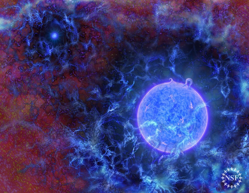 Artist's impression of how the first stars in the universe may have looked. - Image Credit: N.R.Fuller, National Science Foundation