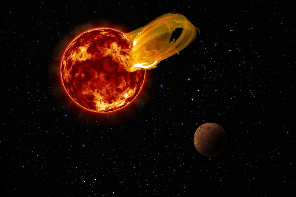 An artist's impression of a flare from Proxima Centauri, modeled after the loops of glowing hot gas seen in the largest solar flares, with the exoplanet Proxima b in the foreground. - Image Credit: Roberto Molar Candanosa / Carnegie Institution for Science, NASA/SDO, NASA/JPL