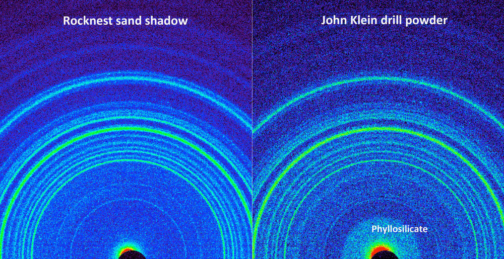 This side-by-side comparison shows the X-ray diffraction patterns of two different samples collected from the Martian surface by NASA's Curiosity rover, as obtained by Curiosity's Chemistry and Mineralogy instrument (CheMin). - Image Credit: NASA/JPL-Caltech/Ames