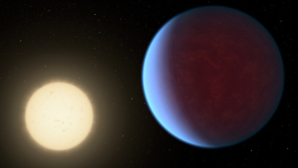 The super-Earth exoplanet 55 Cancri e, depicted with its star in this artist's concept, likely has an atmosphere thicker than Earth's but with ingredients that could be similar to those of Earth's atmosphere. - Image Credit: NASA/JPL