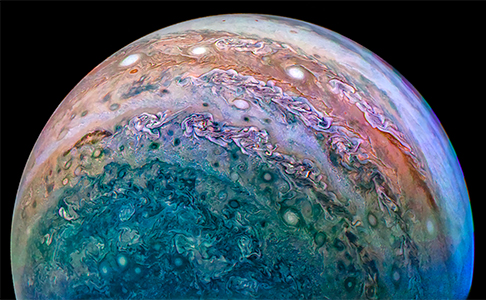 Jupiter's South Pole, taken during a Juno flyby on Dec 16th, 2017. - Image Credit: NASA/JPL-Caltech/SwRI/MSSS/David Marriott