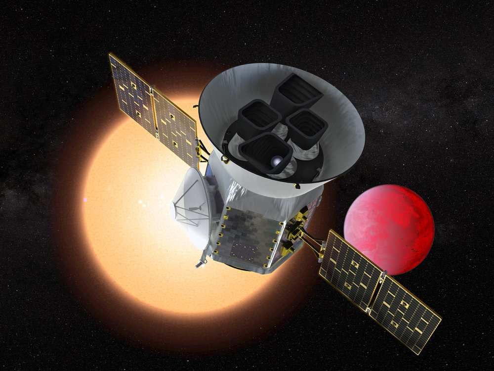 The Transiting Exoplanet Survey Satellite (TESS) is a NASA Explorer mission launching in 2018 to study exoplanets, or planets orbiting stars outside our solar system. TESS will discover thousands of exoplanets in orbit around the brightest stars in the sky. - Image Credits: NASA GSFC