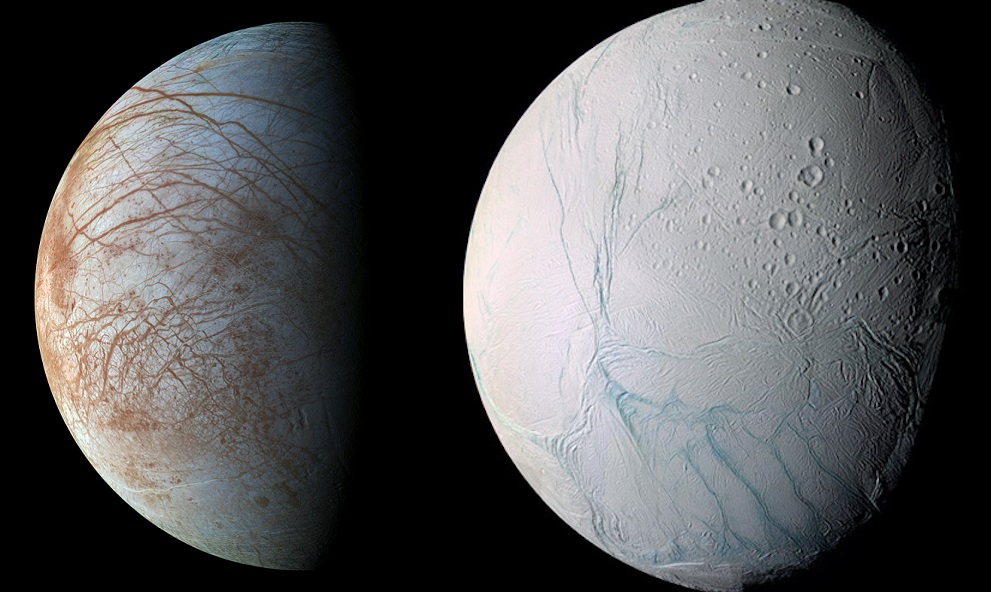 The moons of Europa and Enceladus, as imaged by the Galileo and Cassini spacecraft. - Image Credit: NASA/ESA/JPL-Caltech/SETI Institute