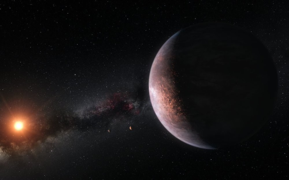 Artist's impression of some of the planets orbiting the ultra-cool red dwarf star TRAPPIST-1 - Image Credit: ESO