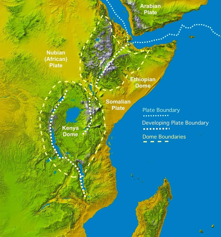 Topography of the Rift Valley. -Image Credit: James Wood and Alex Guth, Michigan Technological University. Basemap: Space Shuttle radar topography image by NASA