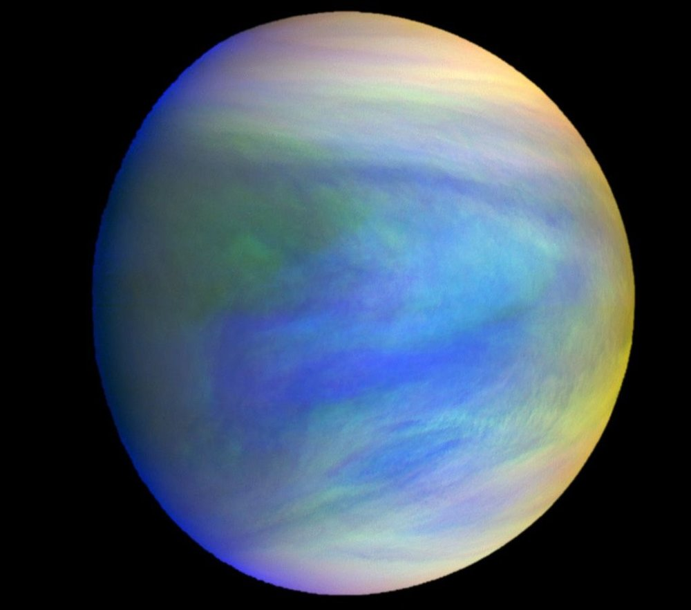A composite image of the planet Venus as seen by the Japanese probe Akatsuki. The clouds of Venus could have environmental conditions conducive to microbial life. - Image Credit: JAXA/Institute of Space and Astronautical Science