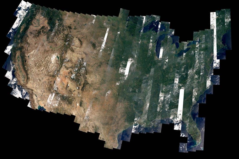 Some satellites – including Landsat 8 – send back images of Earth. - Image Credit: NASA/David Roy , CC BY