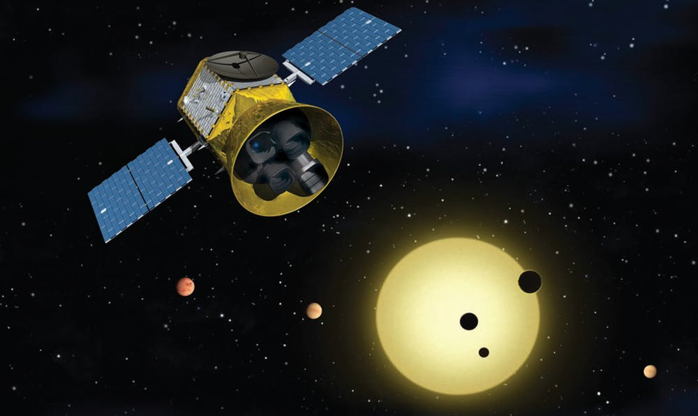 Once launched, TESS will identify exoplanets orbiting the brightest stars just outside our solar system. - Image Credit:  NASA's Goddard Space Flight Center ,  CC BY