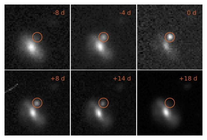 Images of one of the transient events, from eight days before the maximum brightness to 18 days afterwards. This outburst took place at a distance of 4 billion light years. - Image Credit: M. Pursiainen / University of Southampton and DES collaboration