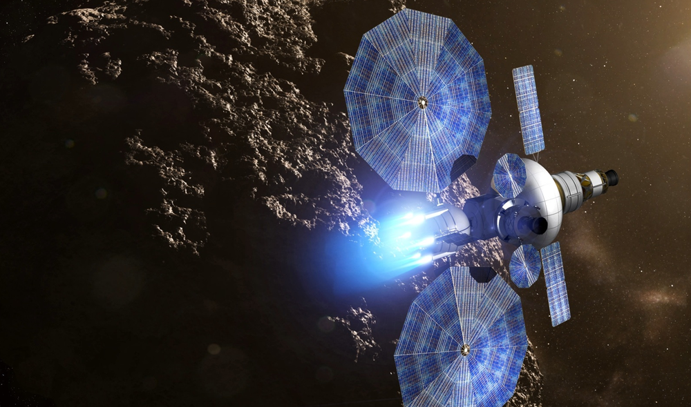 An artist's rendering of a solar electric propulsion tug above an asteroid. - Image Credit:  NASA