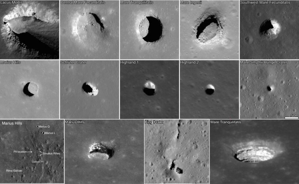 Images of open lava tubes on the Moon. - Image credit: NASA/LRO