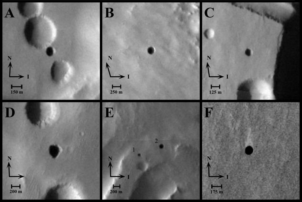 Images of cave openings on a Martian volcano. - Image Credit: NASA/JPL-Caltech/ASU/USGS