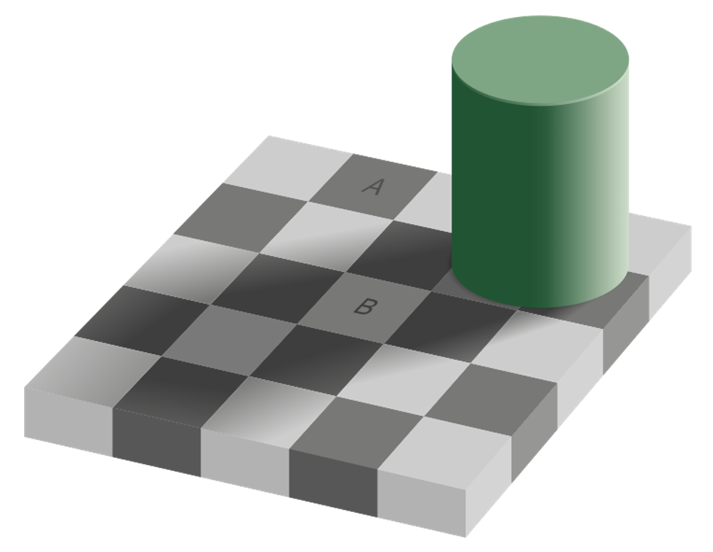Even though squares A and B are exactly the same colour, our brain interprets them as different. - Image Credit:  Sakurambo via Wikimedia Commons ,  CC BY-ND