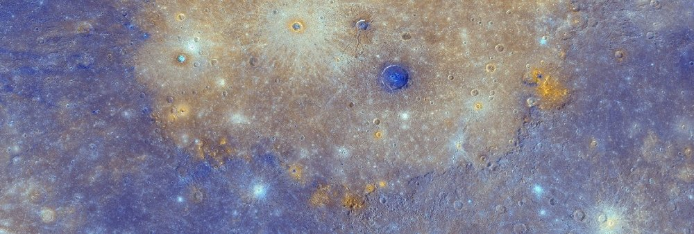 MESSENGER enhanced colour image showing the southern half of Mercury's Caloris basin, hosting several red spots. - Image Credit:  NASA/JHUAPL/CIW , Author provided