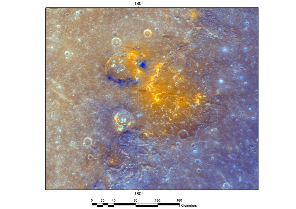 A cluster of overlapping red spots in the southeast of the Caloris basin, named collectively as Slang Faculae, using the Afrikaans word for snake. (Enhanced colour image) - Image Credit: NASA/JHUAPL/CIW