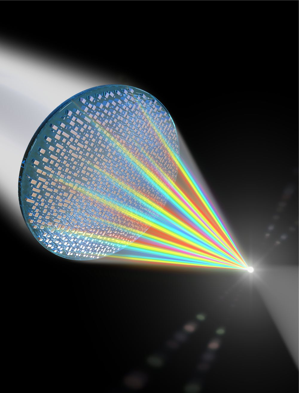 A diagram of how a meta-lens can focus all colors of light on a single point. - Image Credit:  Capasso Group, Harvard University ,  CC BY-ND