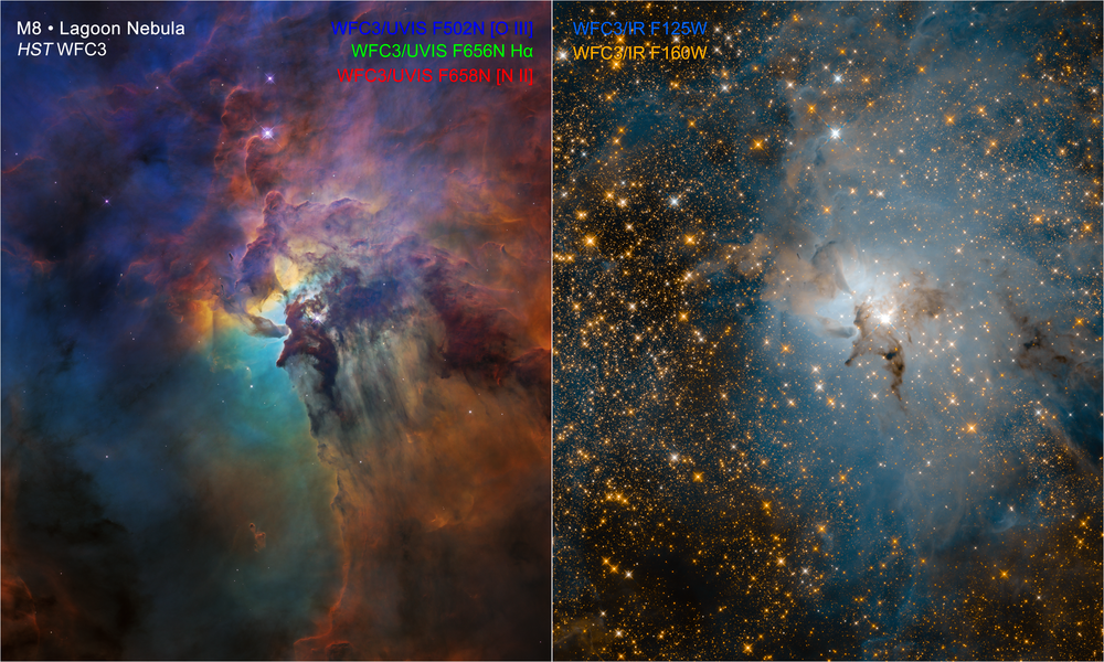 These NASA Hubble Space Telescope images compare two diverse views of the roiling heart of a vast stellar nursery, known as the Lagoon Nebula. The images, one taken in visible and the other in infrared light, celebrate Hubble's 28th anniversary in space. - Image Credits: NASA, ESA, and STScI