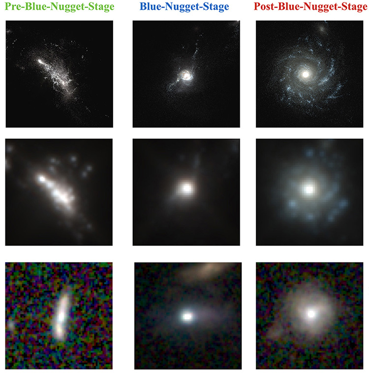 A 'deep learning' algorithm trained on images from cosmological simulations is surprisingly successful at classifying real galaxies in Hubble images. - Image Credit: HST/CANDELS