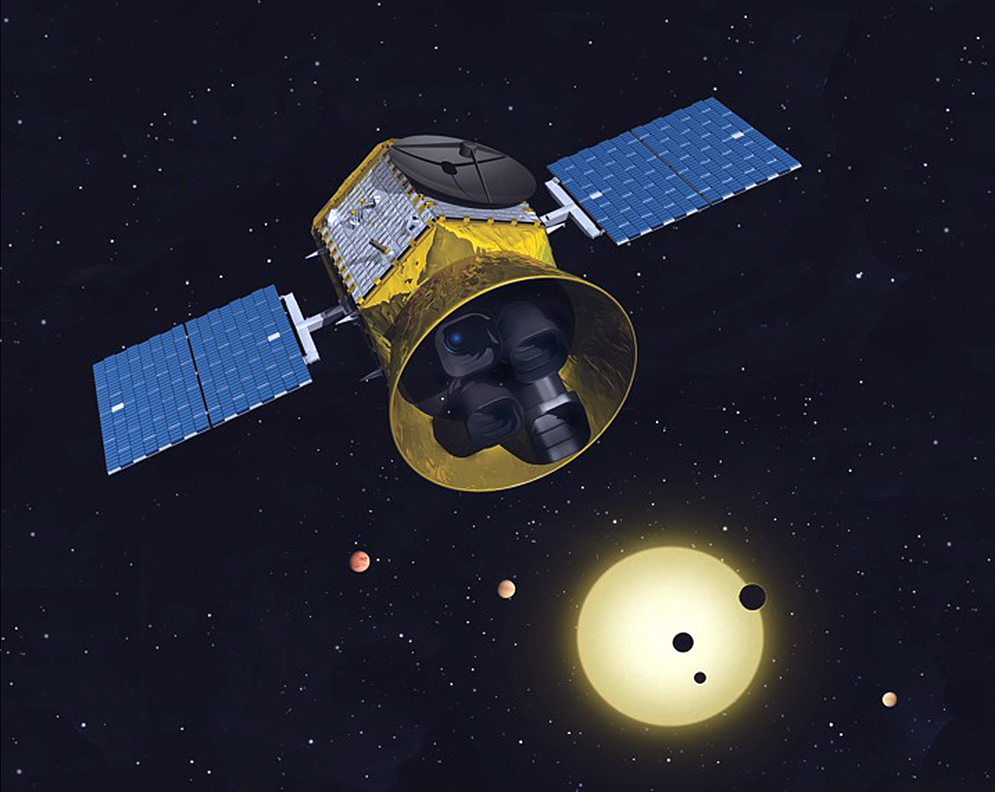 Artist concept of the Transiting Exoplanet Survey Satellite and its 4 telescopes. - Image Credit: NASA/MIT