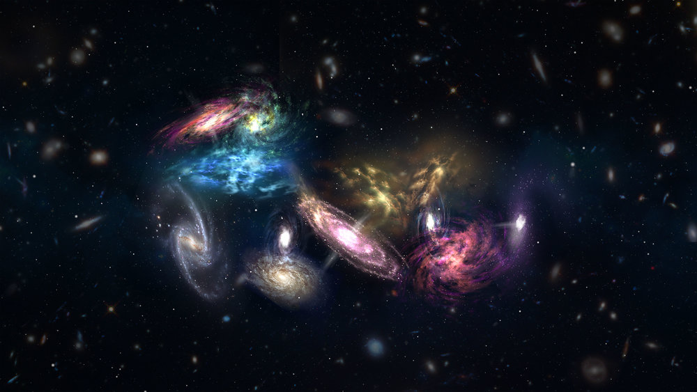 Artist impression of the 14 galaxies detected by ALMA as they appear in the very early, very distant universe. These galaxies are in the process of merging and will eventually form the core of a massive galaxy cluster. - Image Credit: NRAO/AUI/NSF; S. Dagnello
