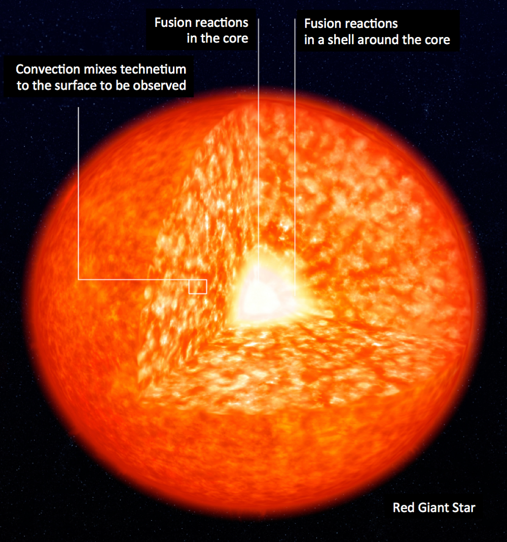 Fusion reactions happen in different parts of a star. Technetium is created in the shell. - Image Credit:  ESO, CC BY-ND