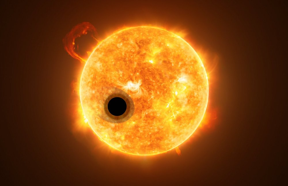 The exoplanet WASP-107b is a gas giant, orbiting a highly active K-type main sequence star. The star is about 200 light-years from Earth. Using spectroscopy, scientists were able to find helium in the escaping atmosphere of the planet — the first detection of this element in the atmosphere of an exoplanet. - Image Credit: ESA/Hubble, NASA, M. Kornmesser