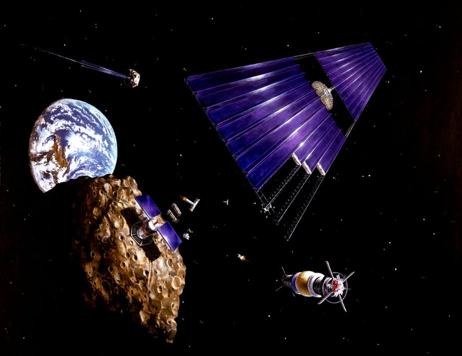 Artist's impression of a solar-powered satellite on a mining mission. - Image Credit: NASA