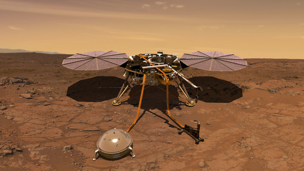 An artist's rendering of the InSight Mars lander carrying out surface operations. - Image Credit: NASA-JPL