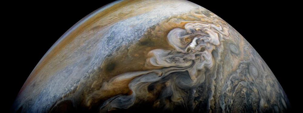 Swirling cloud belts of Jupiter's northern hemisphere. - Image Credit: NASA/JPL-Caltech/SwRI/MSSS/Kevin M Gill