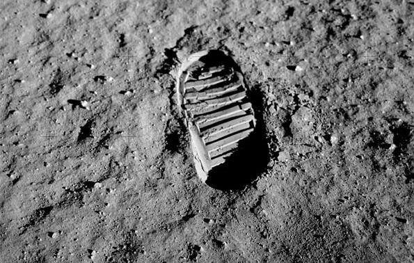 Lunar footprint from the Apollo missions. - Image Credit: NASA