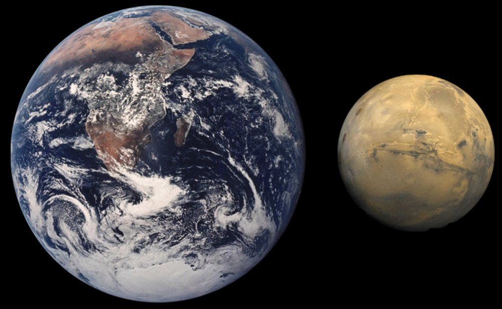 Size comparison between Earth and Mars. - Image Credit: NASA