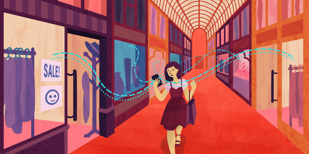 Advertisers may track a customer's shopping preferences within a shopping centre by using ultrasonic beacons emitted from their mobile phones. - |Image Credit: Mai Lam/The Conversation  CC BY-SA
