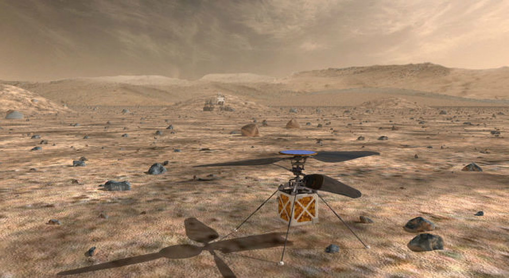 NASA's Mars Helicopter, a small, autonomous rotorcraft, will travel with the agency's Mars 2020 rover, currently scheduled to launch in July 2020, to demonstrate the viability and potential of heavier-than-air vehicles on the Red Planet. - Image Credits: NASA/JPL-Caltech