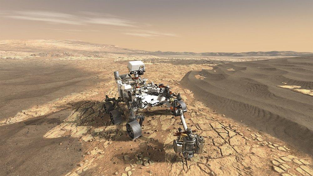This artist's concept depicts NASA's Mars 2020 rover exploring Mars. - Image Credit: NASA