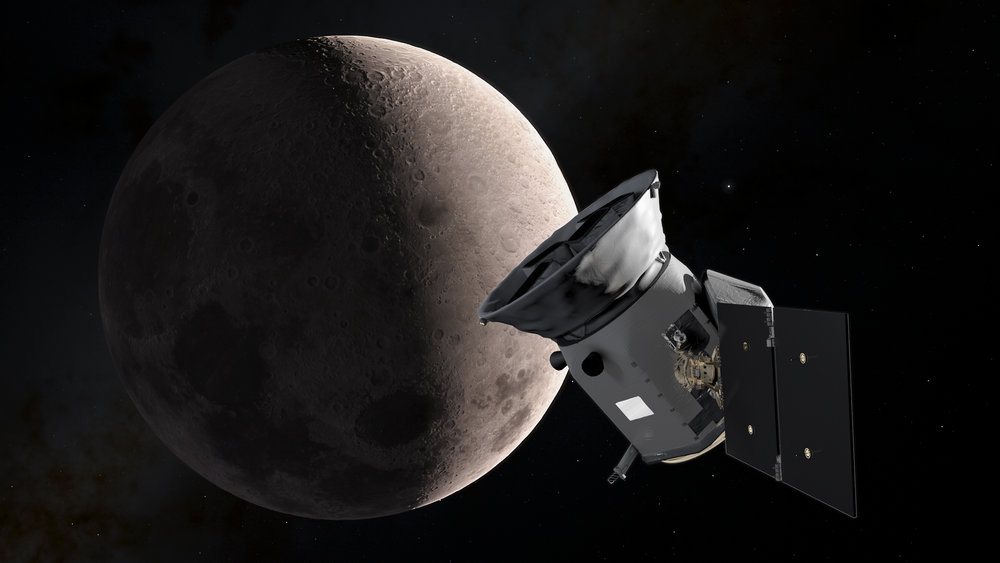 An illustration of TESS as it passed the Moon during its lunar flyby. This provided a gravitational boost that placed TESS on course for its final working orbit. - Image  Credit: NASA's Goddard Space Flight Center