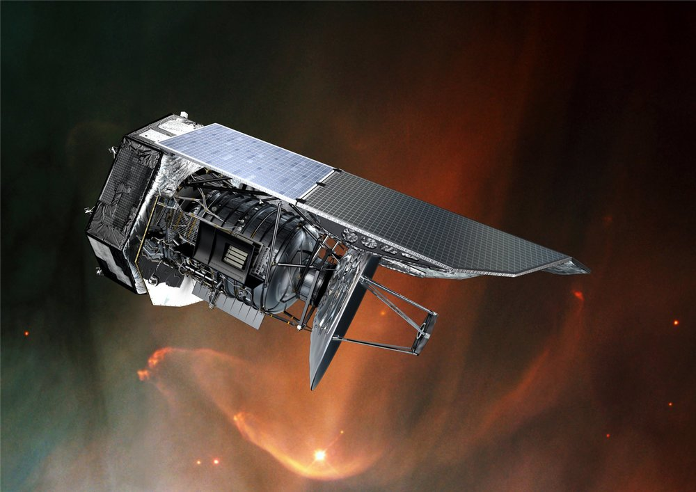Artist's impression of the Herschel Space Telescope. - Image Credit: ESA/AOES Medialab/NASA/ESA/STScI
