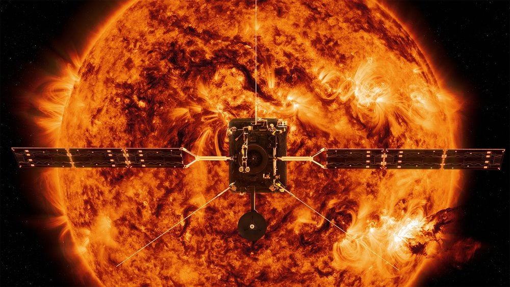 ESA's Solar Orbiter will capture the very first images of the Sun's polar regions, where magnetic tension builds up and releases in a lively dance. - Image Credits: Spacecraft: ESA/ATG medialab; Sun: NASA/SDO/P. Testa (CfA)