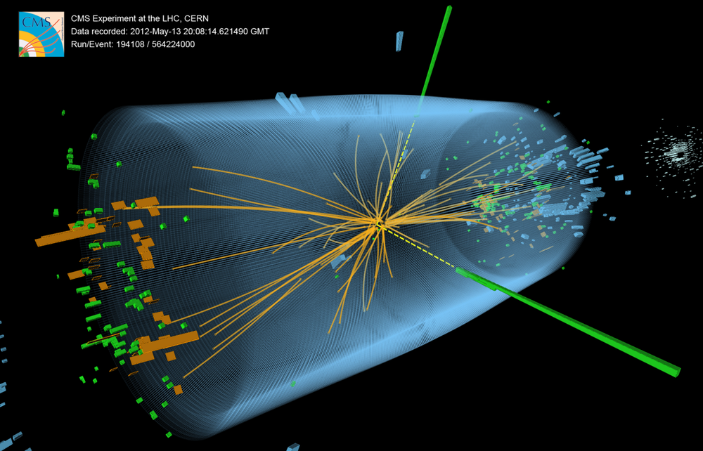3D view of an event recorded at the CERN particle accelerator showing characteristics expected from the decay of the SM Higgs boson to a pair of photons (dashed yellow lines and green towers).  McCauley, Thomas; Taylor, Lucas; for the CMS Collaboration CERN  via Wikimedia Commons