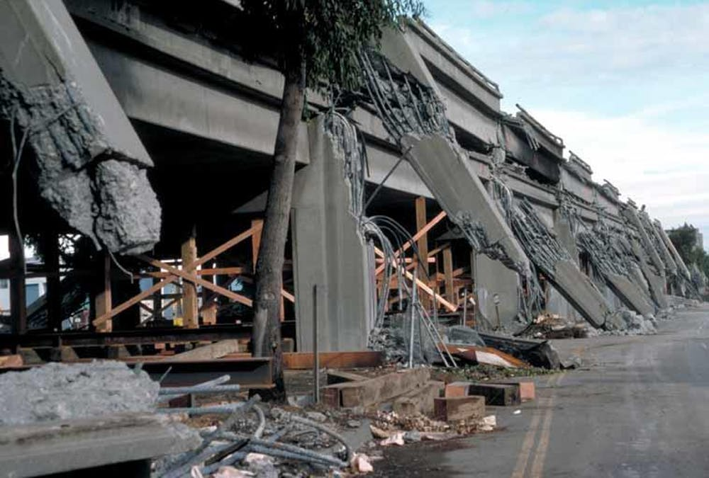 Concrete piers supporting the Cypress Street Viaduct in Oakland, California, broke like matchsticks during the Loma Prieta earthquake in 1989. - Image Credit: H.G.Wilshire/USGS