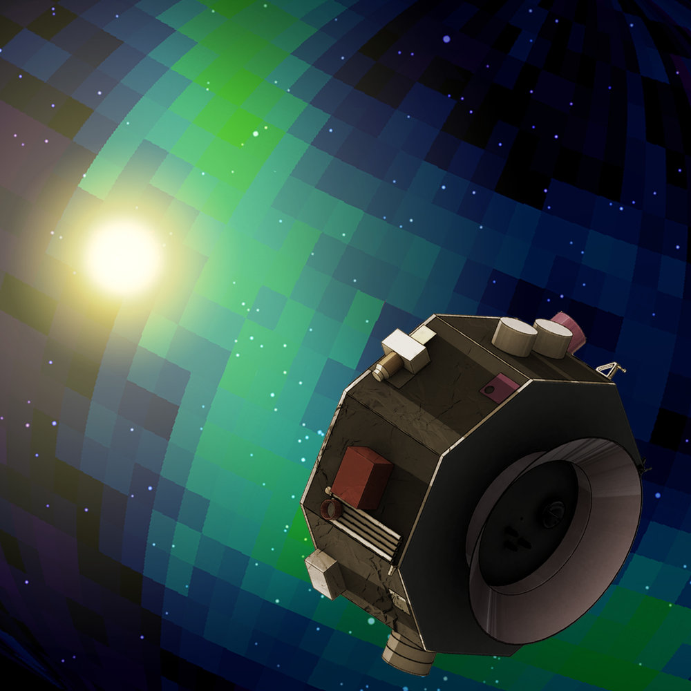 This illustration shows the Interstellar Mapping and Acceleration Probe observing signals from the interaction of the solar wind with the winds of other stars. - Image Credits: NASA