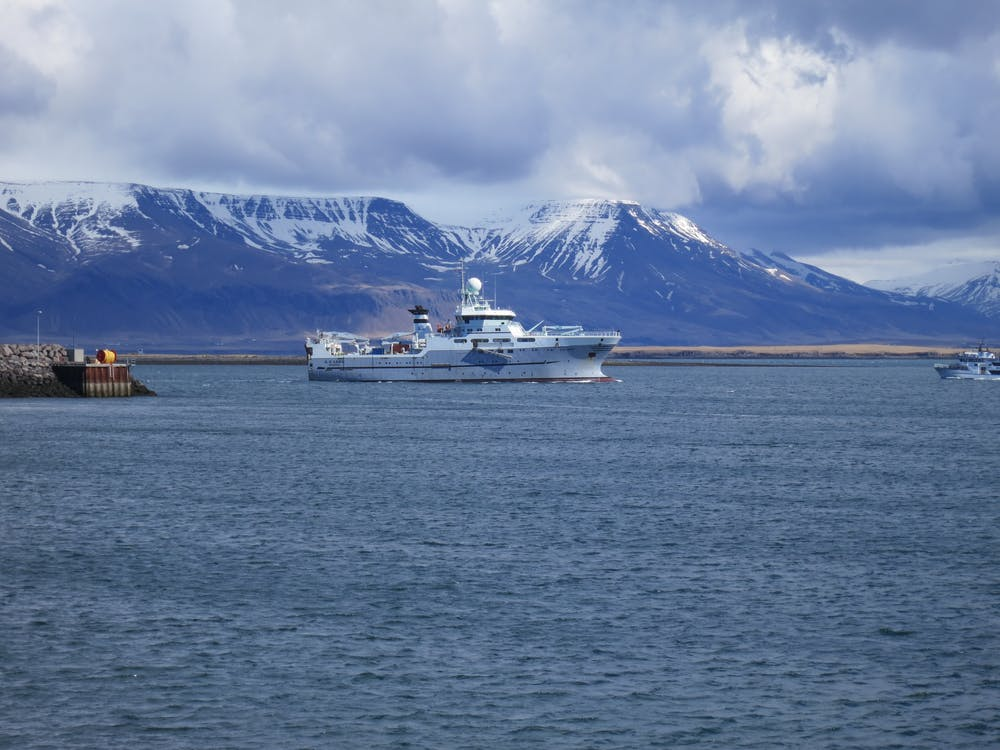 The Norwegian research vessel GO Sars arriving in Reykjavik, Iceland, on a plankton sampling trip. - Image Credit: Ann Bucklin (UConn),  CC BY-ND