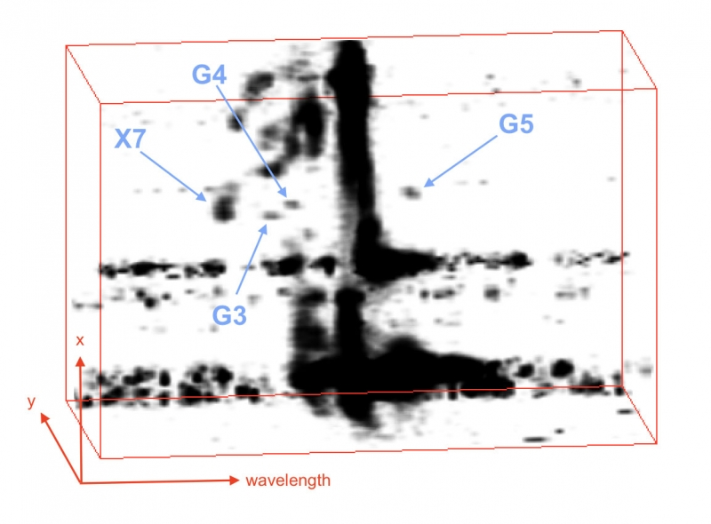 3-D spectro-imaging data cube produced using software called OSIRIS-Volume Display ( OsrsVol) to separate G3, G4, and G5 from the background emission. - Image Credit: W.M. Keck Observatory