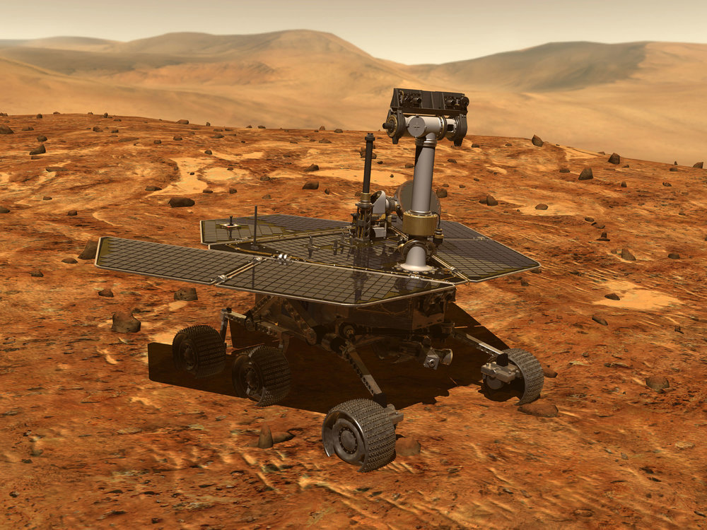 Artist's conception of a Mars Exploration Rover, which included Opportunity and Spirit. - Image Credit: NASA