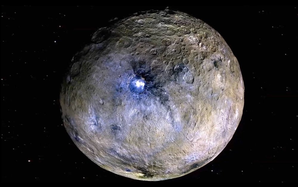 This false-color rendering highlights differences in surface materials at Ceres, one of the targets of the Dawn mission. - Image credit: NASA/JPL-Caltech/UCAL/MPS/DLR/IDA