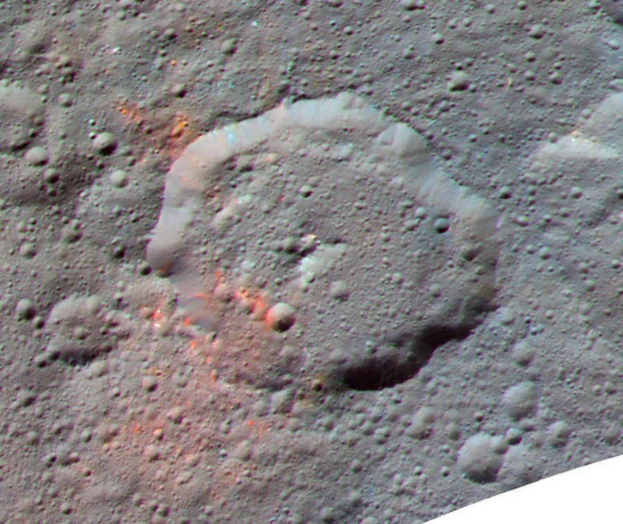 Enhanced color-composite image, made with data from the framing camera aboard NASA's  Dawn spacecraft, shows the area around Ernutet crater. - Image Credit: NASA/JPL-Caltech/UCLA/MPS/DLR/IDA